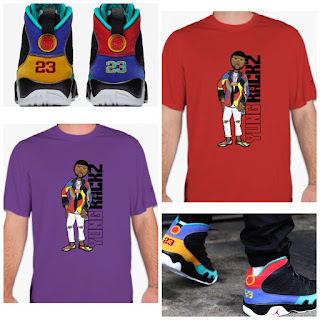 T-shirts, custom Jordan trainers and apparel by North Carolina hip hop artist, Yung Rackz