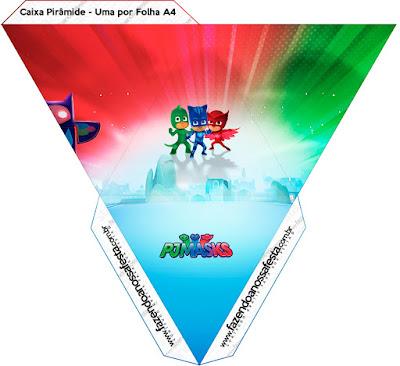 Caja con forma de pirámide de Super Héroes en Pijamas.