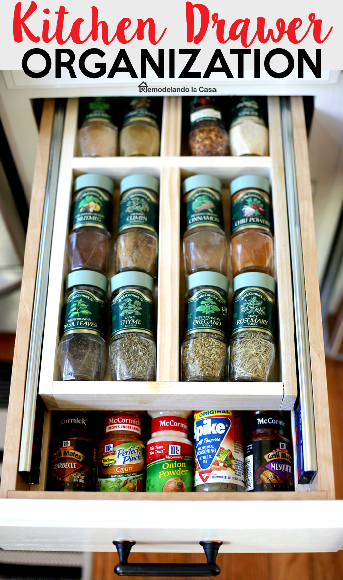 double drawer with spice jars
