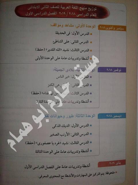 جدول توزيع منهج اللغة العربية للصف الخامس الابتدائى - الفصل الدراسى الثانى   PRIM 5