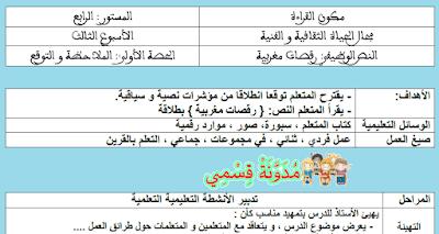 جذاذات النص رقصات مغربية للمستوى الرابع
