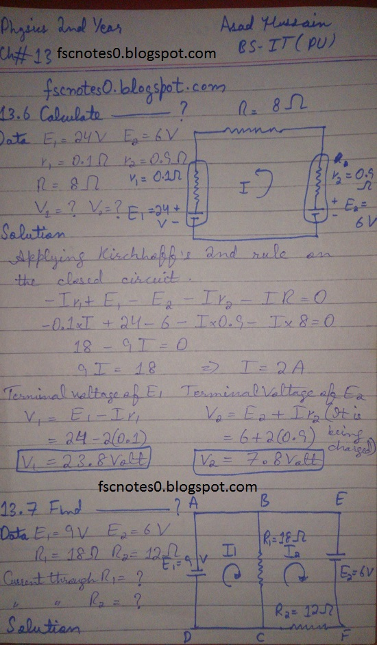 F.Sc ICS Notes: Physics XII: Chapter 13 Current Electricity Numerical Problems Asad Hussain 2