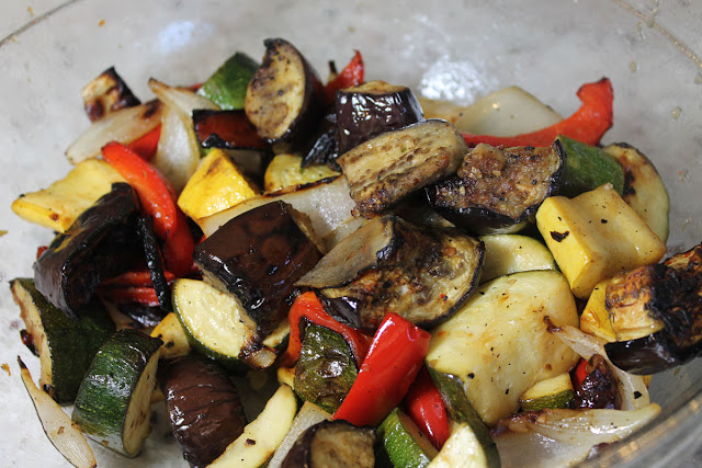 A platter of grilled vegetables