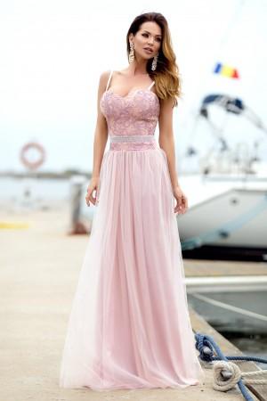Rochie lunga de lux de seara roz cu tull si broderie