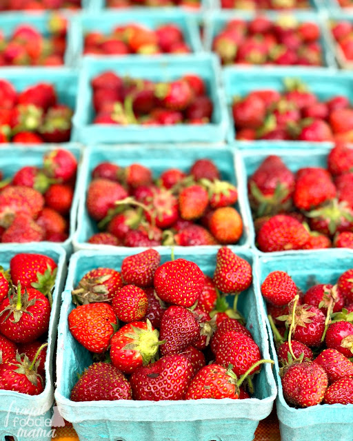 Sweet, juicy local strawberries are in season here, so I snatch them up every chance that I get at my local market.