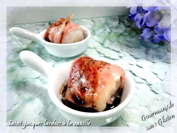 Noix de Saint Jacques lardées à la vanille