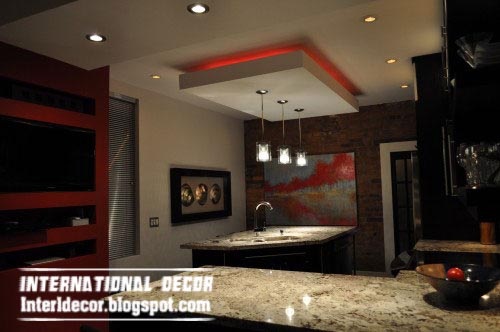 Wonderful Gypsum Board Ceiling Suspended False Design For Modern Kitchen With Red  Lights