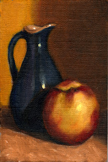 Oil painting of a small blue sauce jug beside a yellow nectarine.