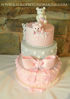 pink & grey teddies and ruffles baby shower cake