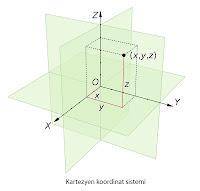 Kartezyen koordinat sistemini anlatan bir çizim