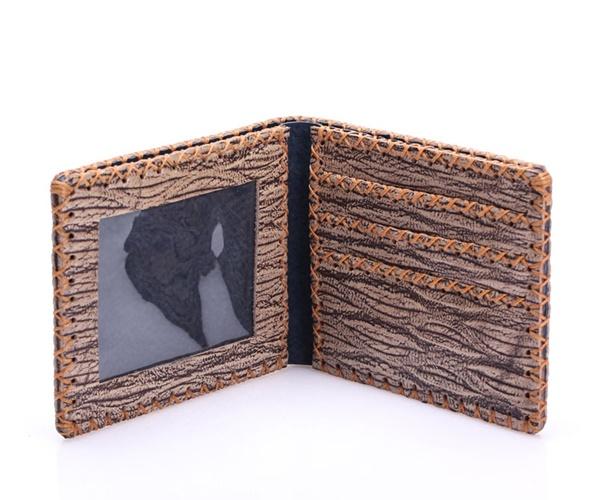 Bóp da nam họa tiết gỗ cá tính FF063