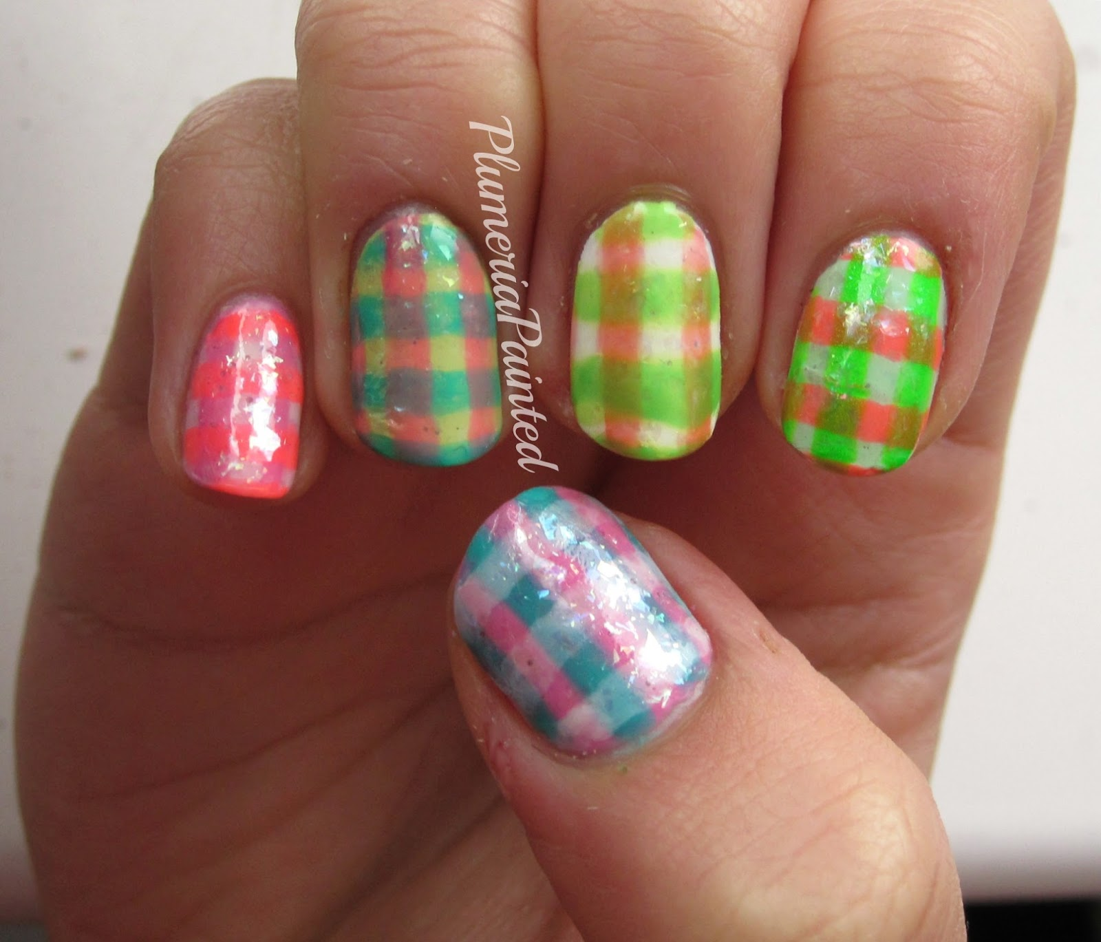 PlumeriaPainted: Pastel Jelly Checkered Nails
