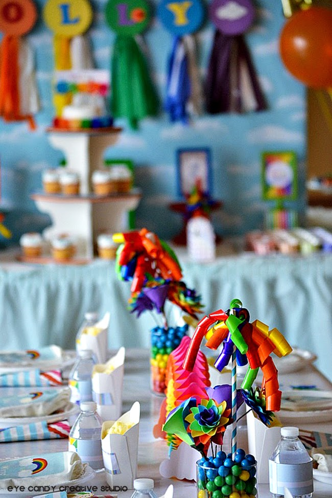 rainbow party decor, rainbow table decor, rainbow party place setting ideas