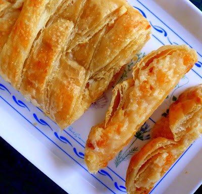 Apricot Cream Cheese Pastry Braid, a sweet cream cheese apricot filling in a flaky puff pastry crust | Recipe developed by www.BakingInATornado.com | #recipe #pastry
