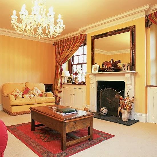 Salas con paredes amarillas salas con estilo for Cortinas amarillas
