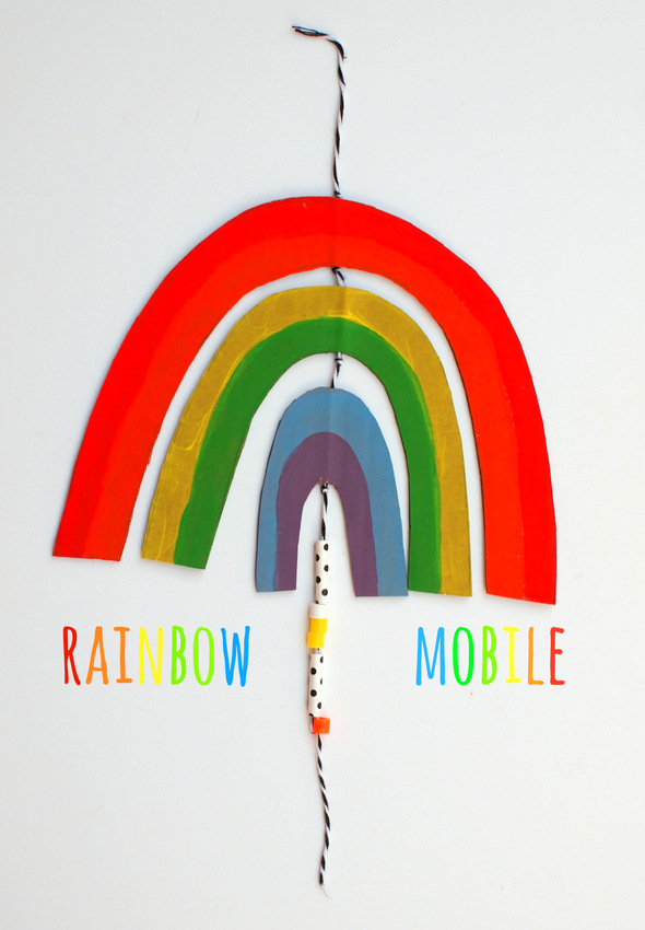 how to make your very own cardboard rainbow mobile- perfect happy craft for kids