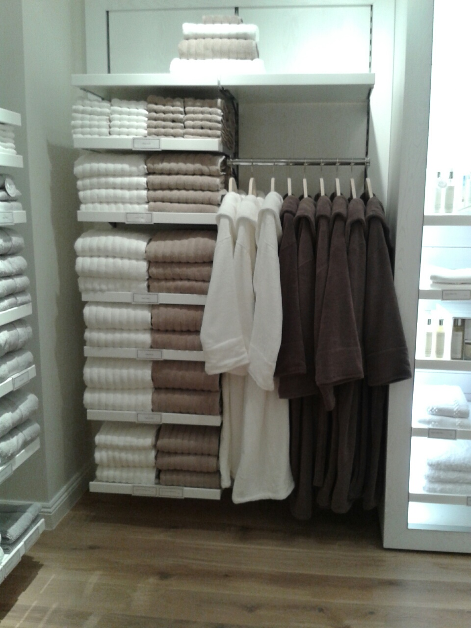 The White Company towel and dressing gown display