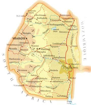 Mapas Geográficos de Suazilândia