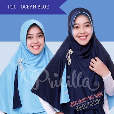 JILBAB Bolak Balik Atau Timbal Balik Original P11 - OCEAN BLUE