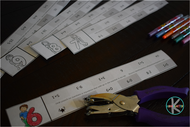 clever kindergarten math worksheets - solve and use a hole punch