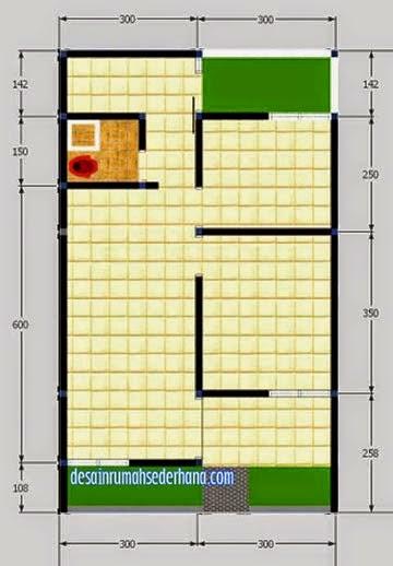 gb3 denah rumah type 50 tanah60m2