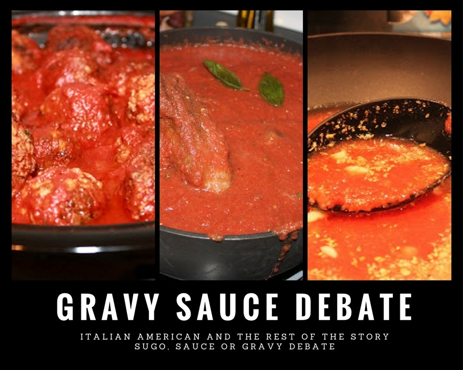 collage of meat italian Sunday Sauce with meatballs, sausage and braciole simmering in pots
