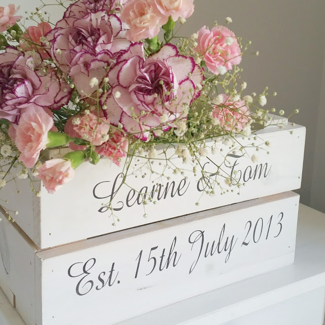 FLOWERS IN A WEDDING CRATE