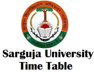 Sarguja University Ambikapur Time Table 2017