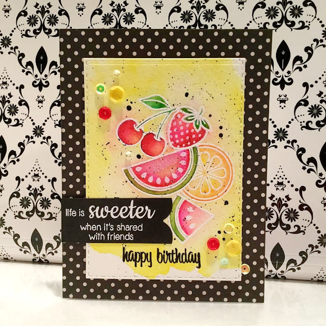 Sunny Studio Stamps:  Fresh & Fruity Fruit Birthday Card by Maggie