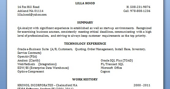 it qa software analyst sample resume format in word free