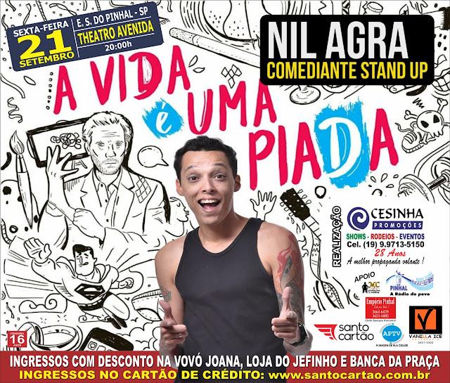 Apresentador do Comedy Central, Nil Agra se apresenta em Espírito Santo do Pinhal