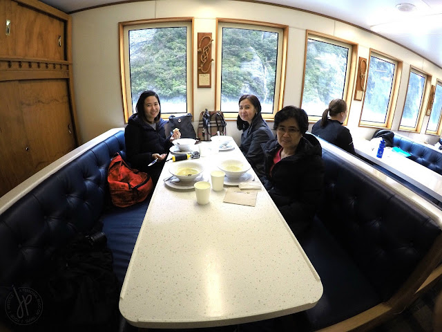 four ladies, boat cabin, soup and bread