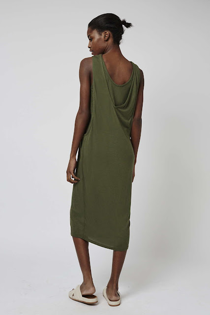 khaki slouch back dress, slouch back dress,