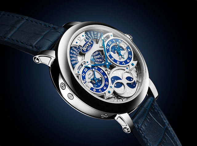"Bovet Récital 27, side view showing the ""writing slope"" shape"
