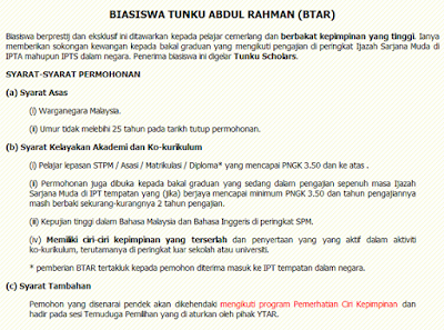 Syarat-syarat permohonan Biasiswa Tunku Abdul Rahman untuk pelajar