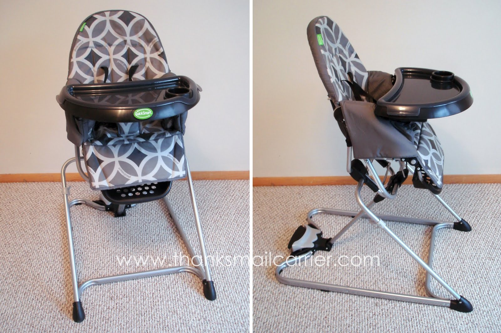 fold down high chair stacking cafe chairs thanks mail carrier quicksmart easy