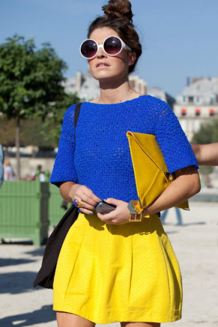 18 Tumblr Summer Outfits fashion blue crocheted crop top yellow skirt