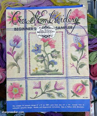 Crewel Sampler (by Elsa Williams): Colour photo of original version