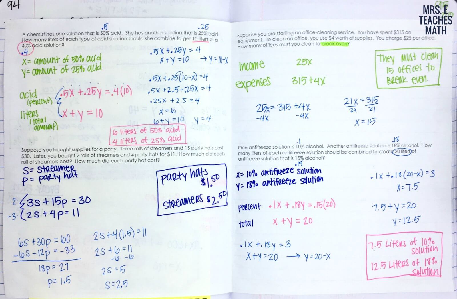 Systems of Linear Equations Word Problems INB Page   Mrs. E Teaches Math