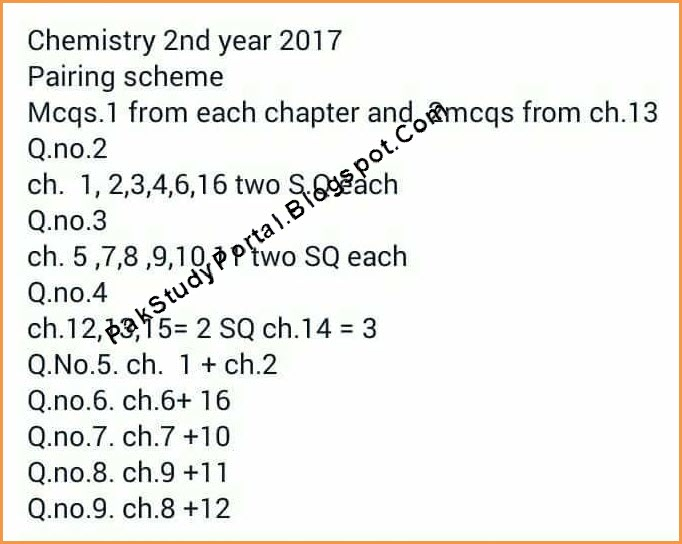 Latest 2nd year chemistry 12th class assessment scheme and pairing chemistry 2nd year scheme of studies 2017 for all punjab boards malvernweather Images