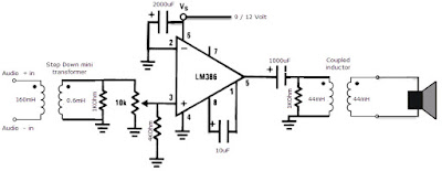 HomeMade DIY HowTo Make: LM386 amplifier circuit schematic