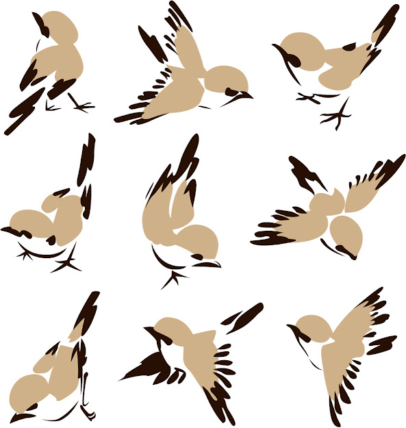 Chinese Painting Bird  Vector Free Vector