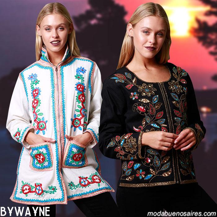 Sacos y chaquetas invierno 2019 bordados hippie chic y boho.