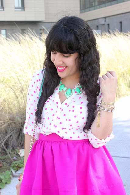 Express Polka Dot Portofino Blouse and High Waist Skirt Outfit