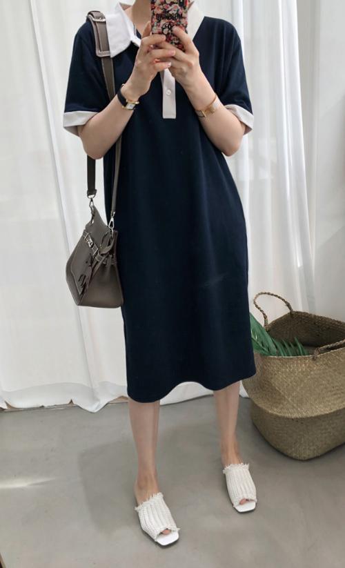 Contrast Trim Straight Cut Dress
