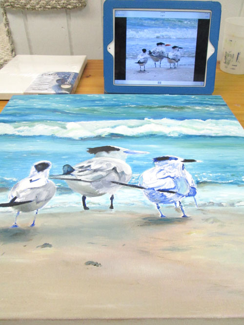 oil painting of birds on sea shore