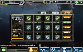 Tingkatan Level Dan Pangkat Di Game Crisis Action