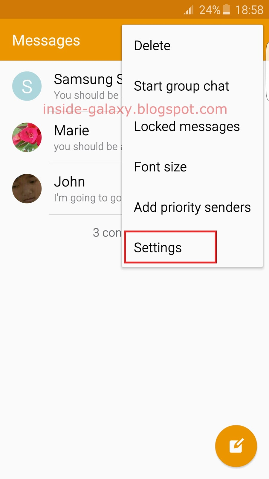 samsung messages how to change background