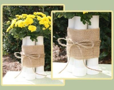 Pipa PVC (paralon) dibuat menjadi vas bunga cantik dan unik