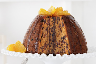 Steamed Christmas pudding with maple poached oranges Recipe